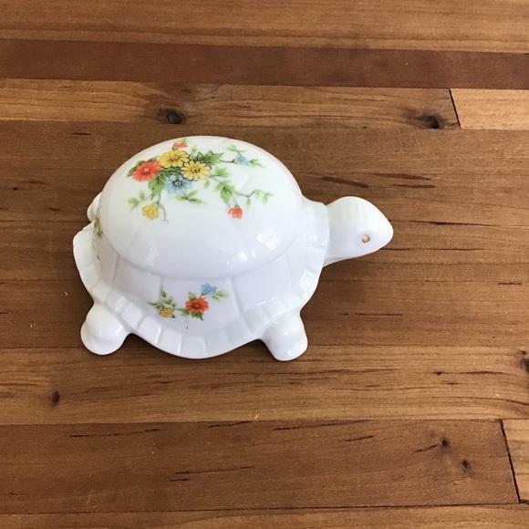 Vintage Japan Lefton Floral Turtle Trinket Dish